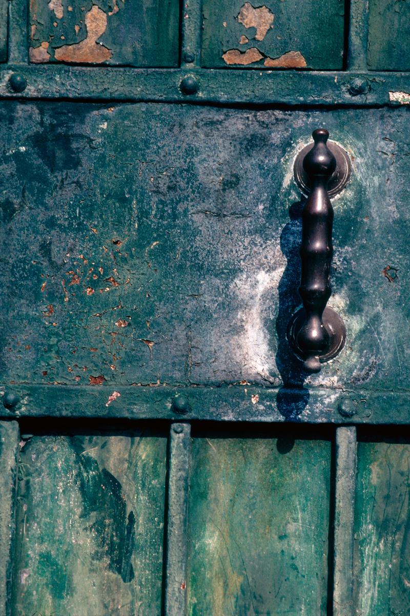 Blue-Green Door Handle