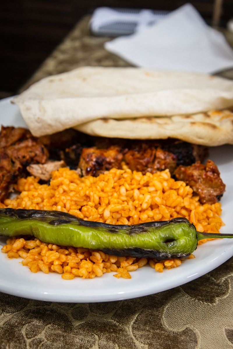 Lamb Kebab with Grilled Chicken and Rice