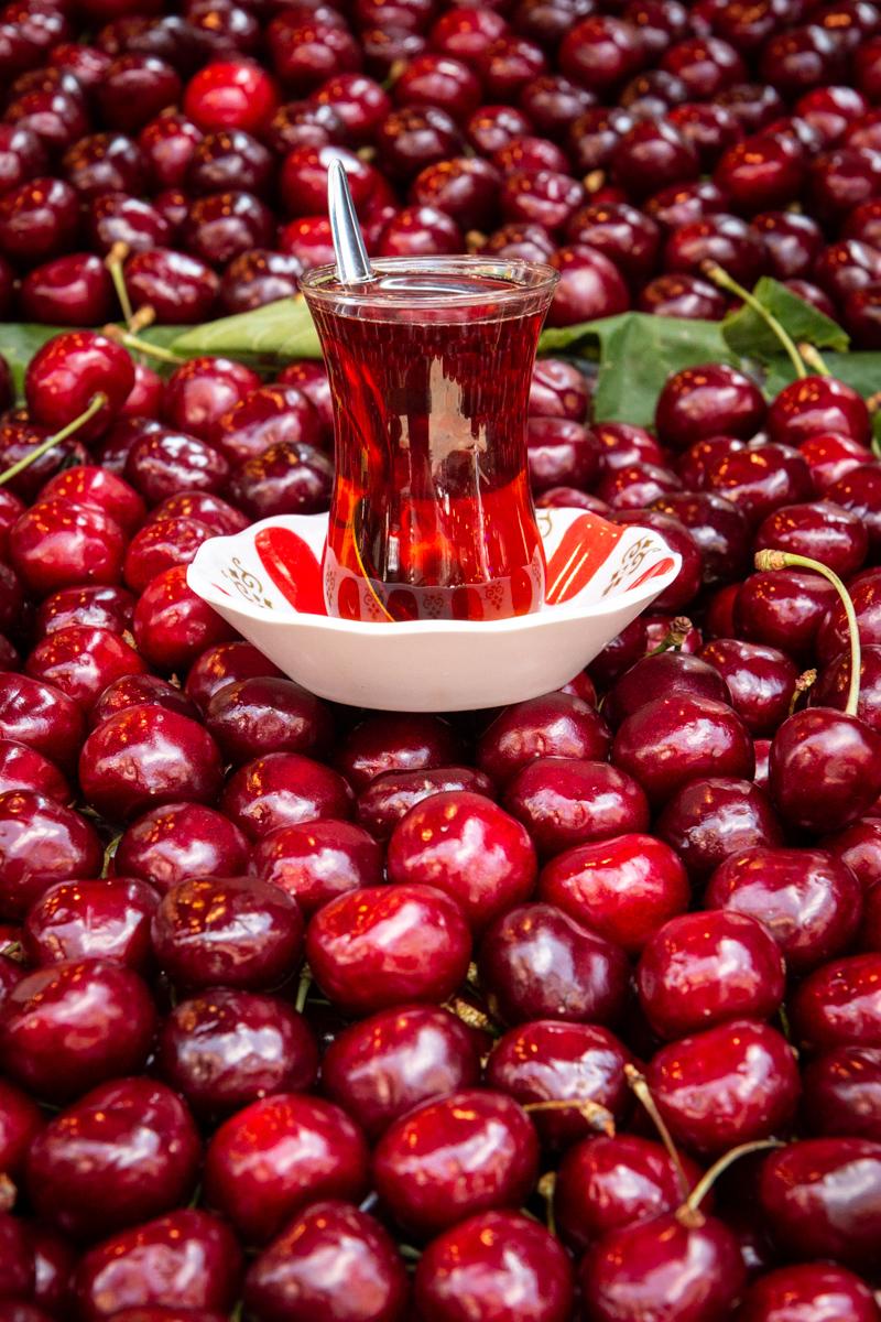 Apple Tea Atop Cherries