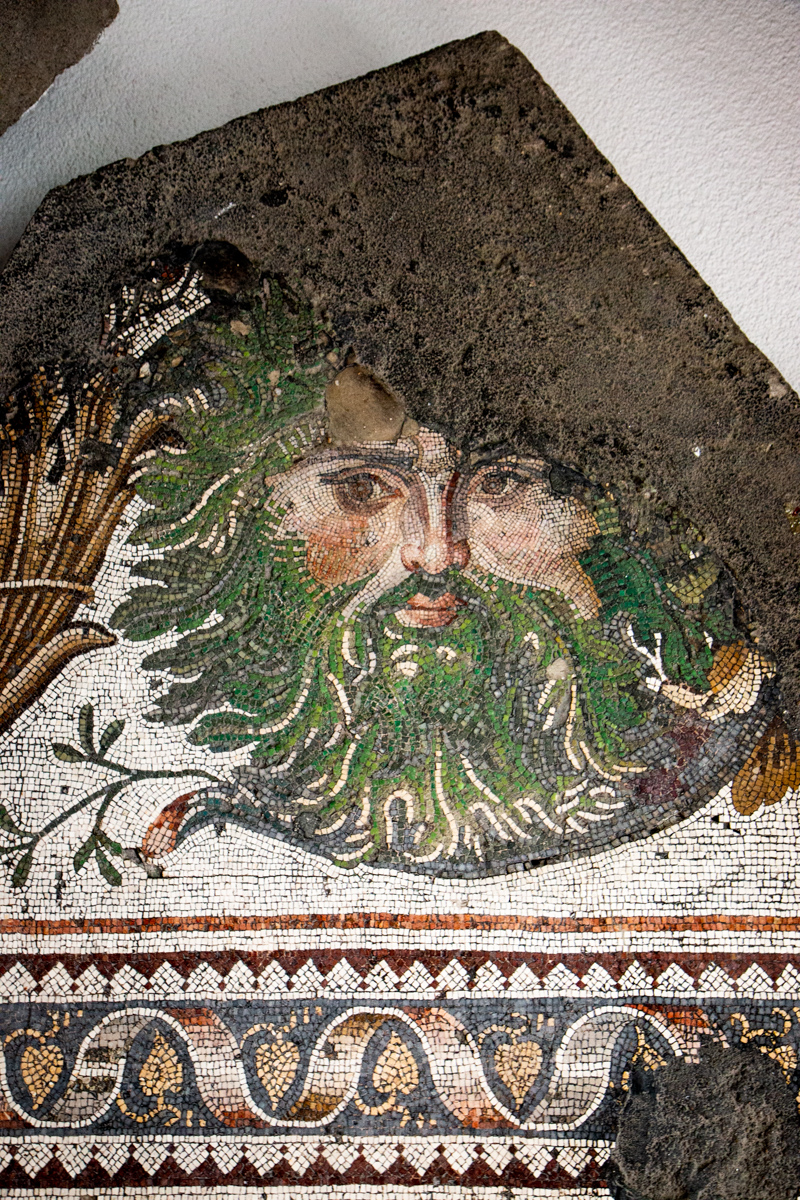 Masked Head in an Acanthus Scroll