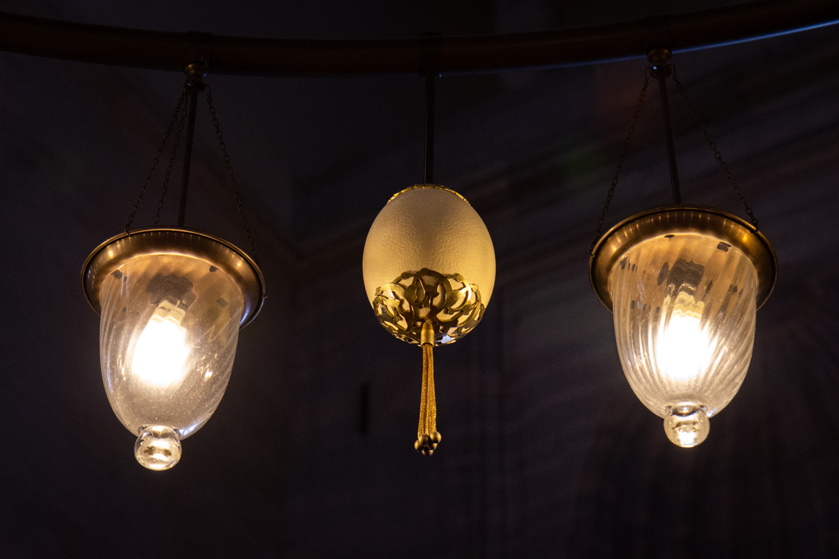 Ostrich Eggs and Chandelier