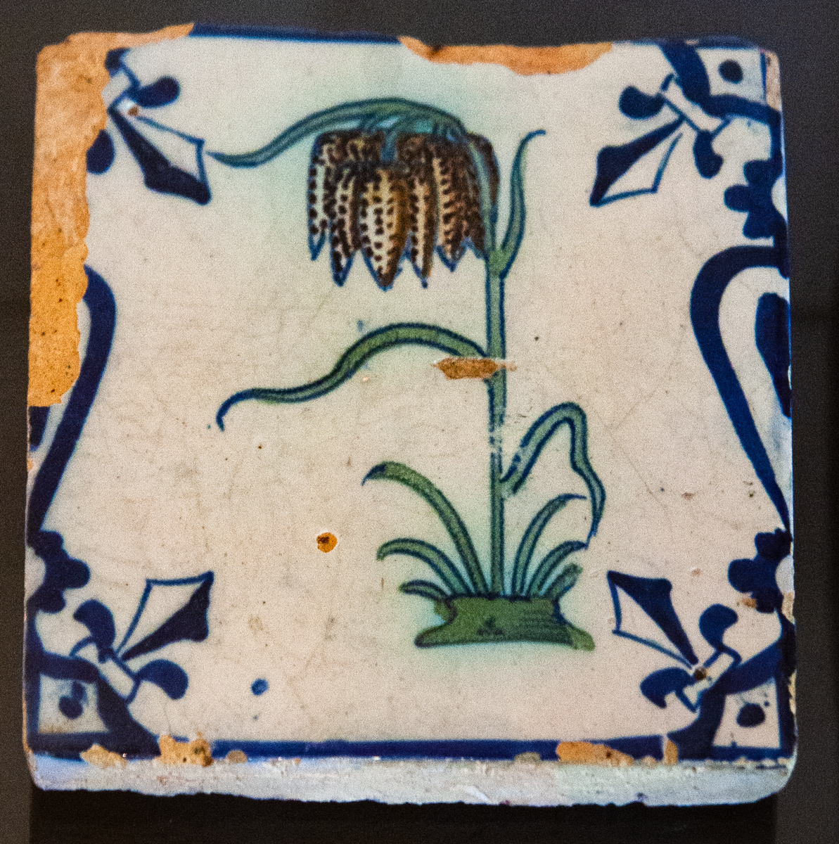 17th Century Dutch Tile with Individual Motif