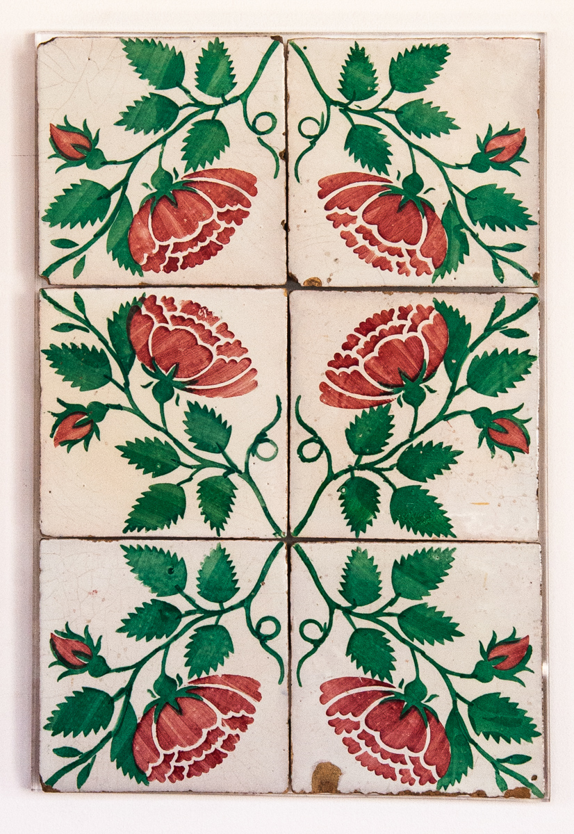 19th Century Floral Tile Panel